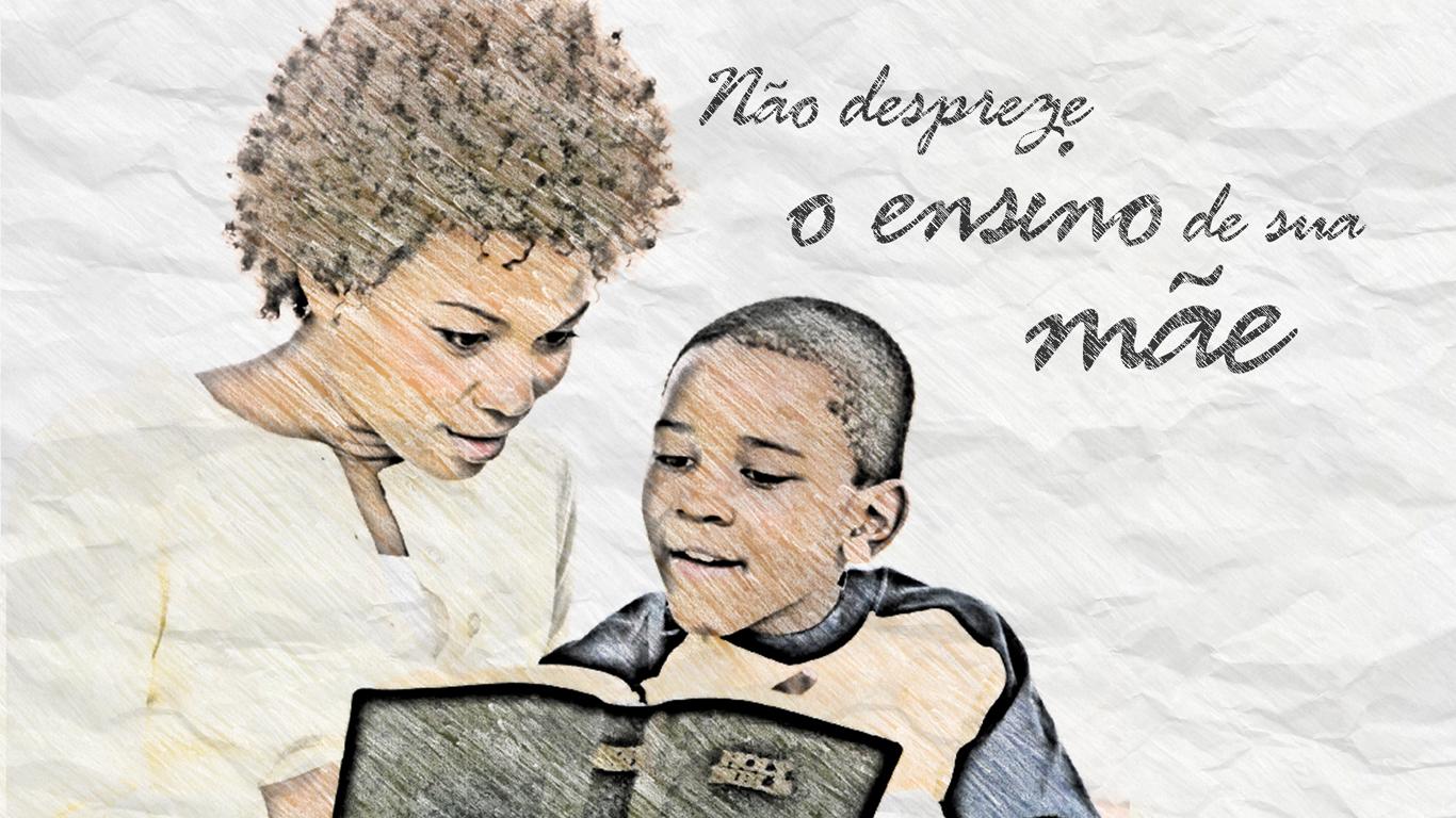 wallpaper cristão não despreze ensino mãe filho lendo bíblia_1366x768