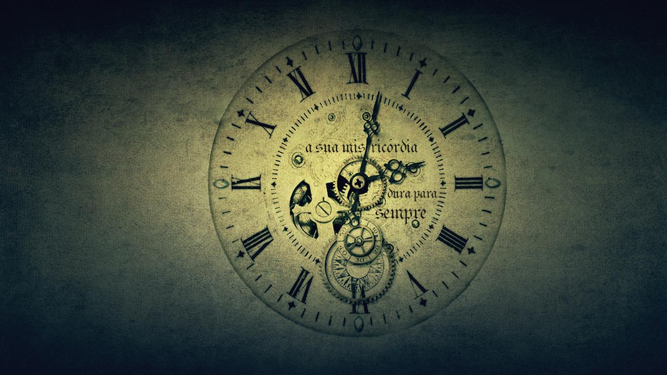 wallpaper cristao hd sua misericórdia dura para sempre relógio_1366x768