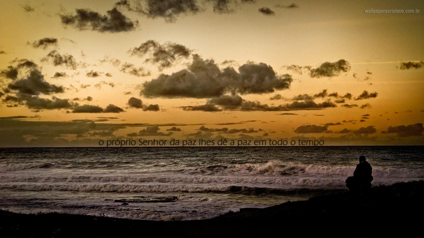 wallpaper cristao hd próprio Senhor paz lhes dê paz todo tempo_1366x768