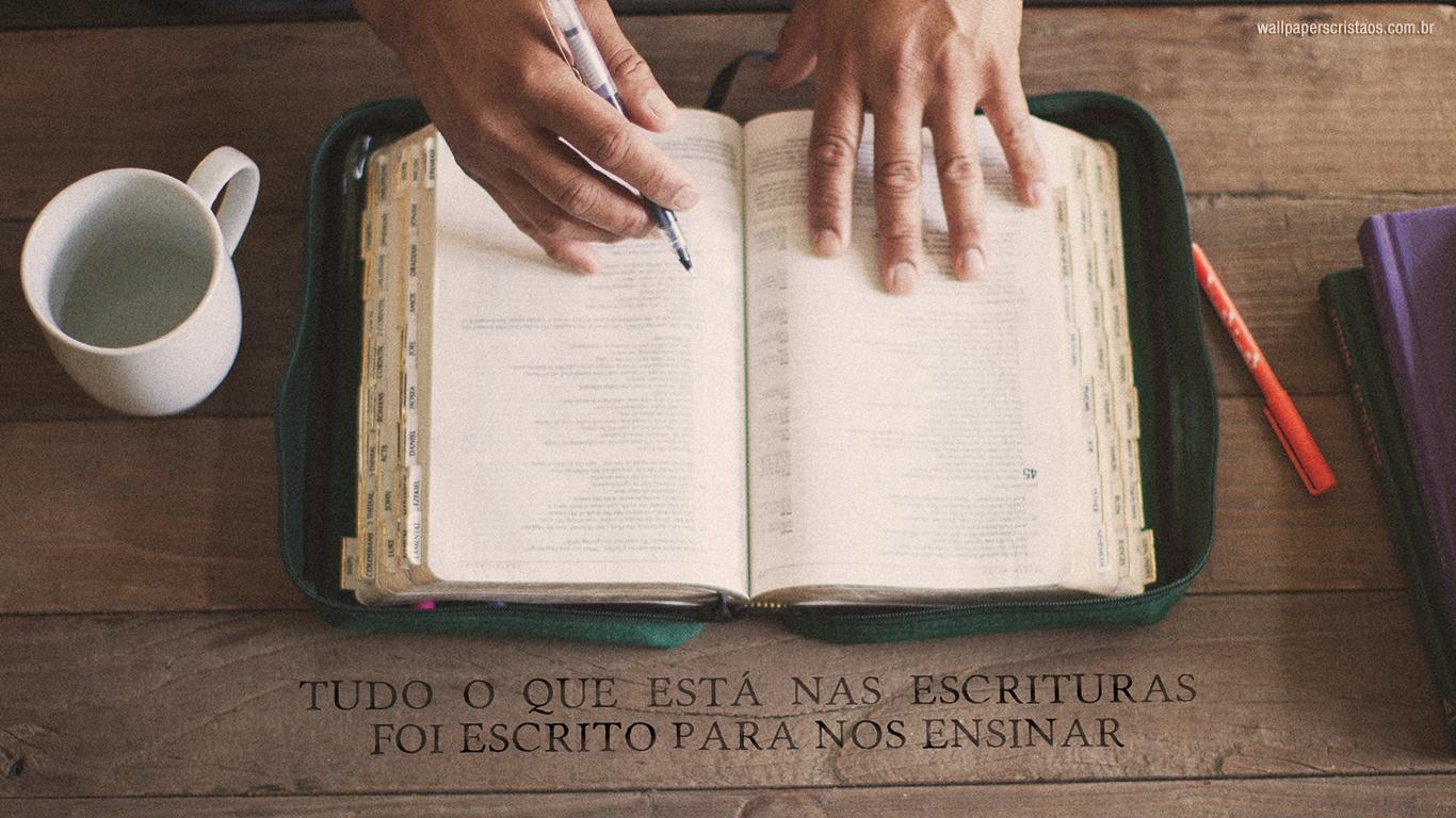 wallpaper cristao tudo o que está nas Escrituras foi escrito para nos ensinar_1366x768