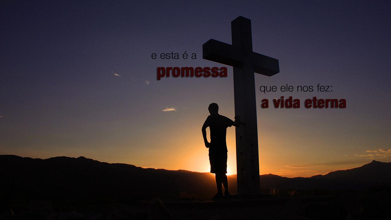 wallpaper cristao cruz homem esta promessa ele nos fez vida eterna_1366x768