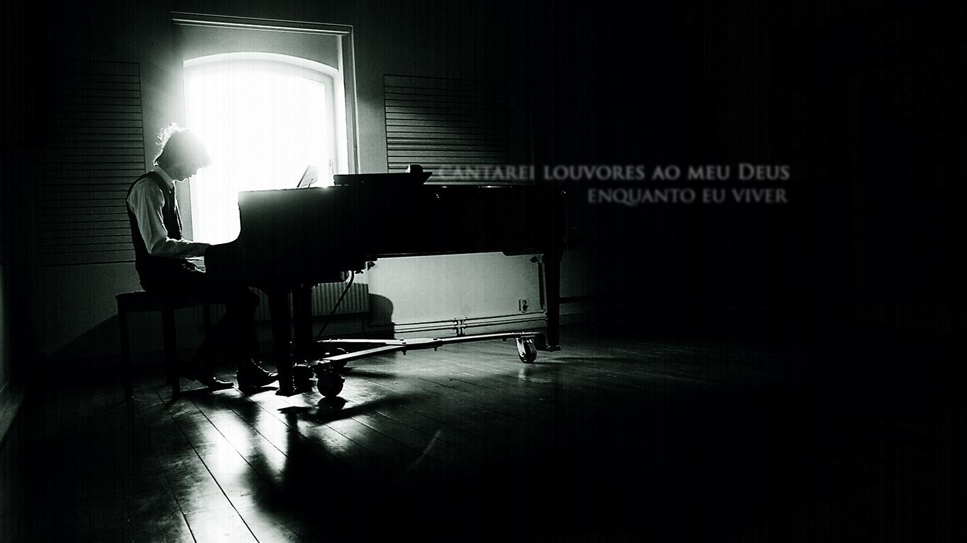 wallpaper cristao hd cantarei louvores meu Deus viver tocando piano_1366x768
