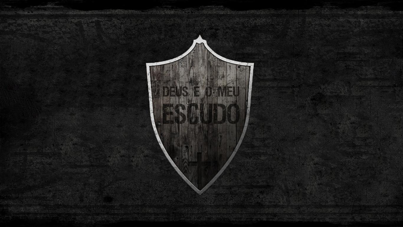 wallpaper cristao Deus é meu escudo madeira_1366x768