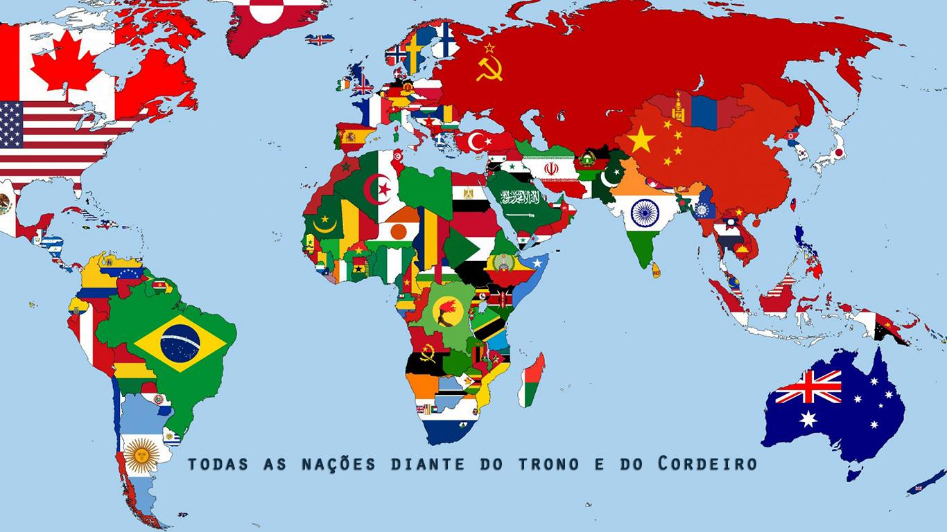 wallpaper cristao todas nações diante do trono e do Cordeiro bandeiras_1366x768