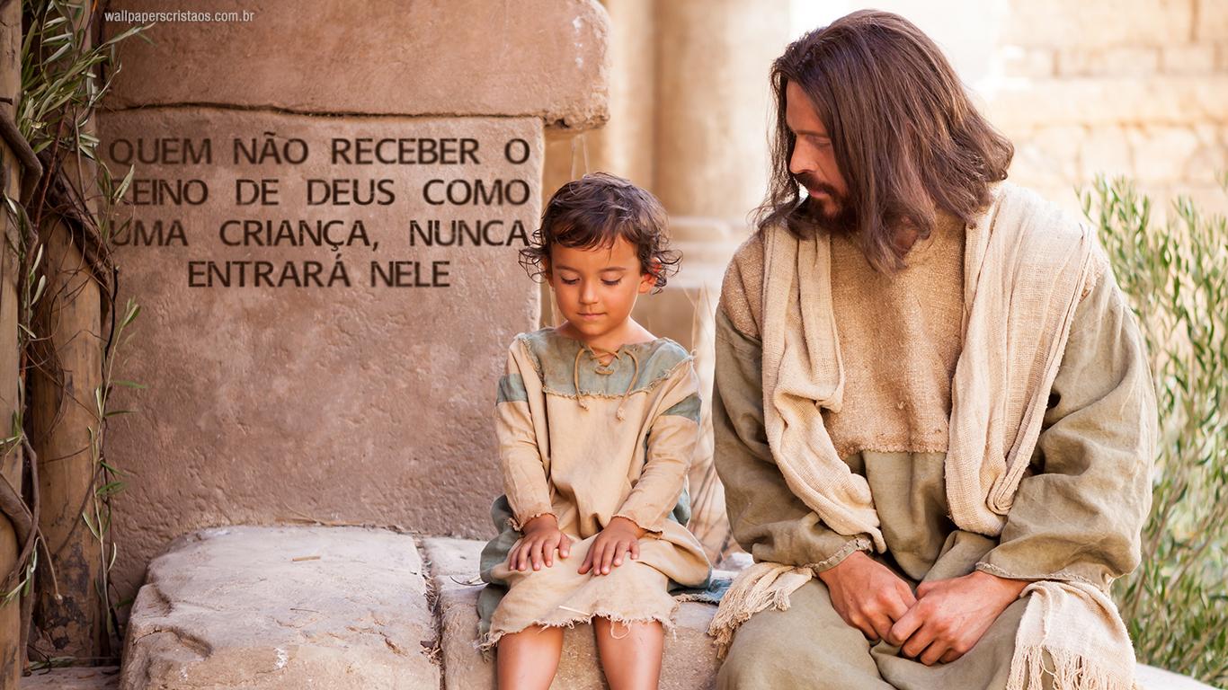 wallpaper cristao hd quem nao receber o Reino de Deus como uma crianca nunca entrara nele_1366x768